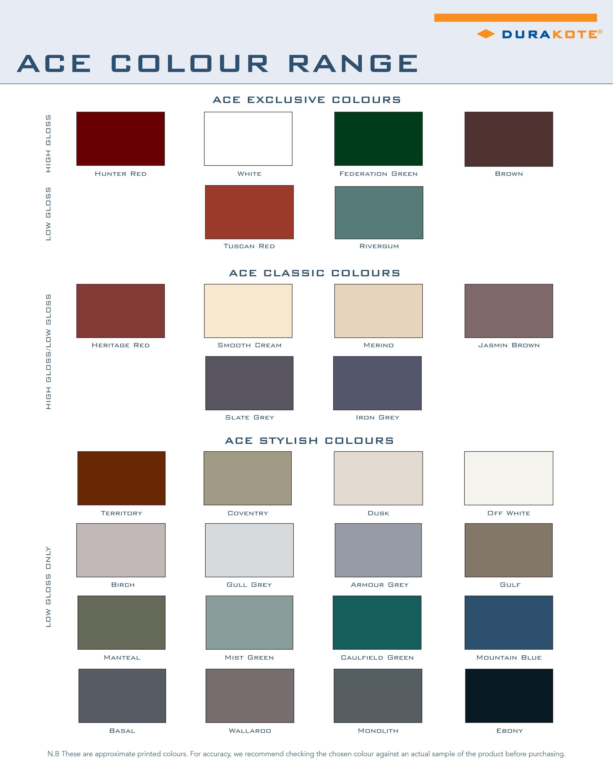 Ace Colour Range Australian Continuous Gutters